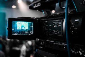 Video camera recording webinar